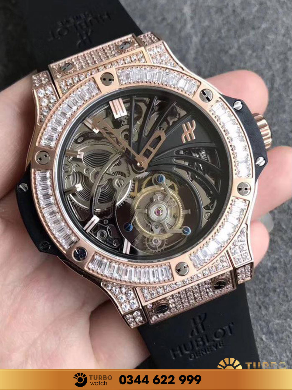 Hublot bigbang king gold diamon tourbillon replica 1-1 cao cấp