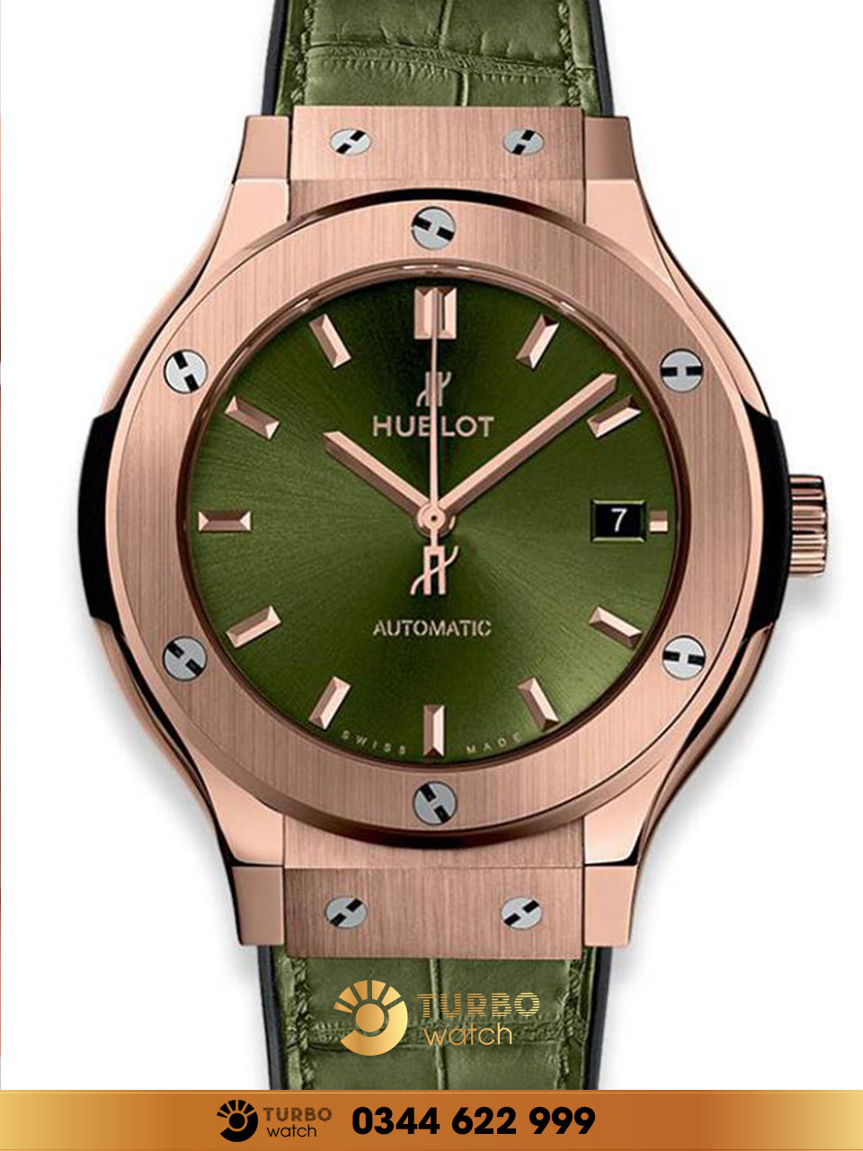 Đồng Hồ Replica Hublot Classic Fusion King Gold & Green
