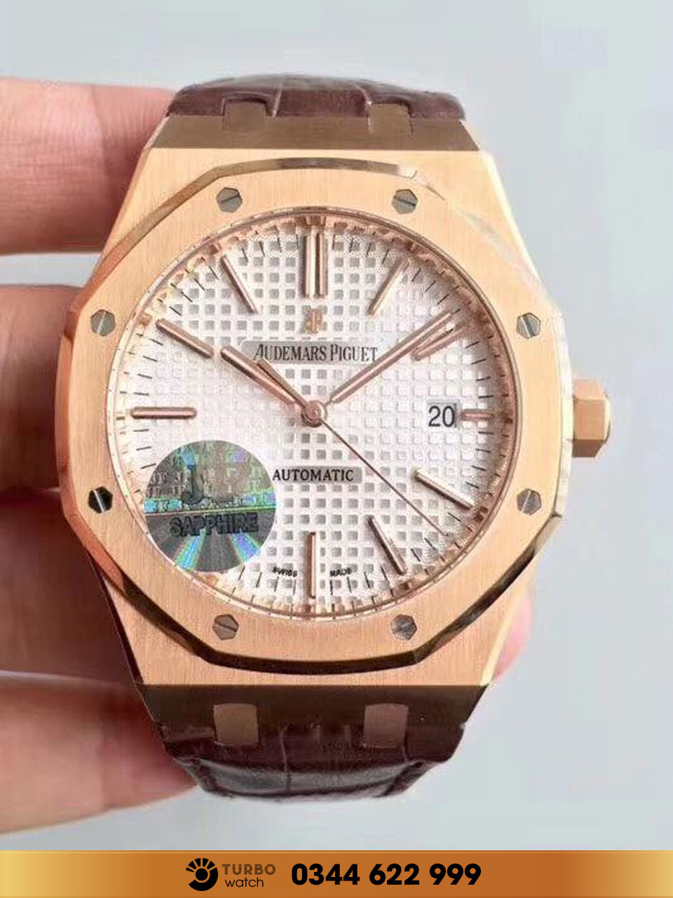 Audemas piguet  Royal Oak Selfwinding dây da  white face replica 1-1 cao cấp