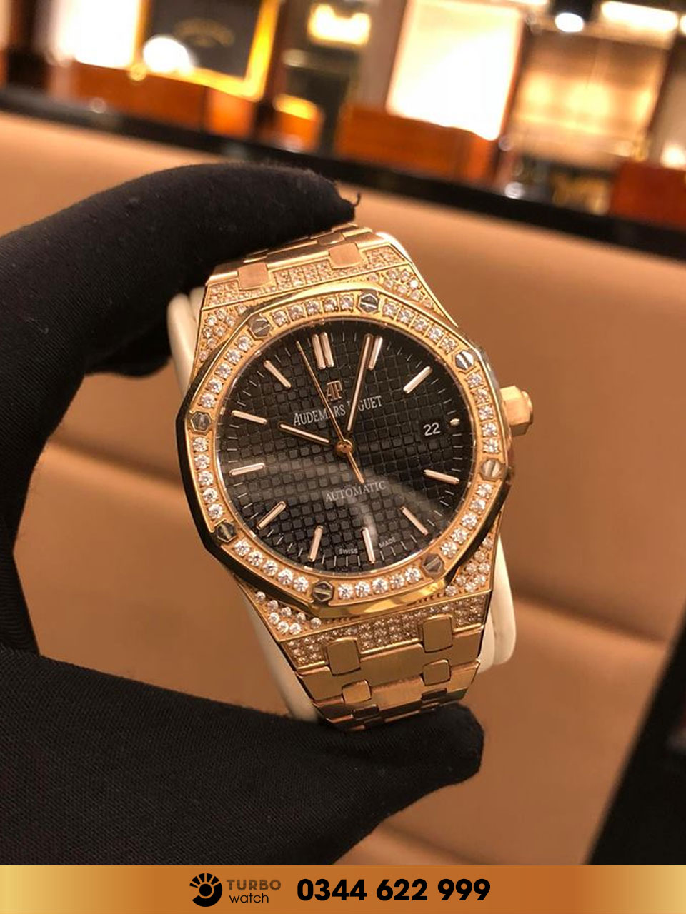 Audemas piguet Royal Oak Gold Diamond black fake 1-1 cao cấp