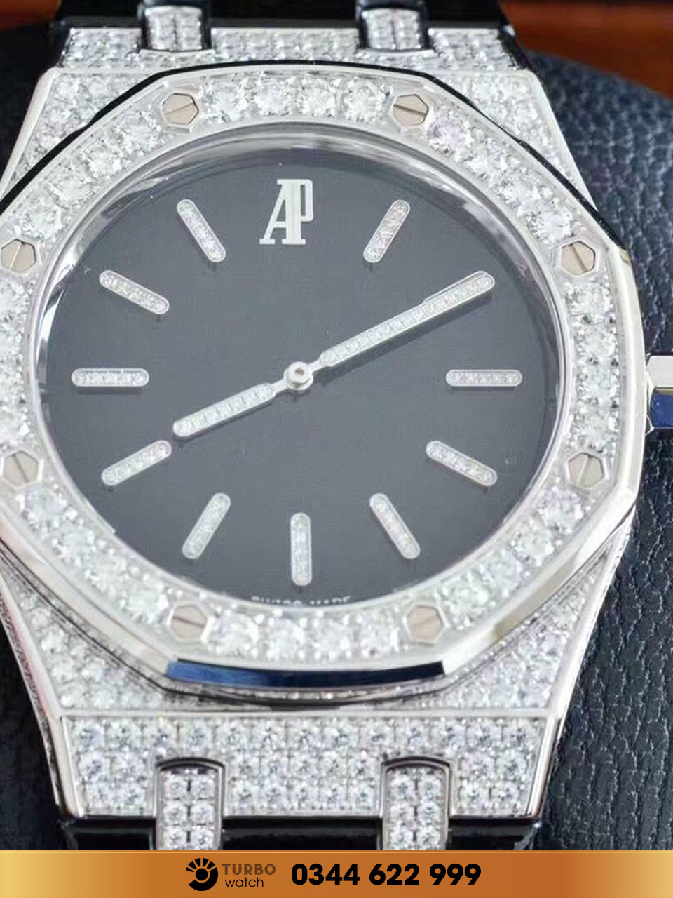 Audemas piguet  Royal Oak  extra thin black full diamond fake 1-1 siêu cấp