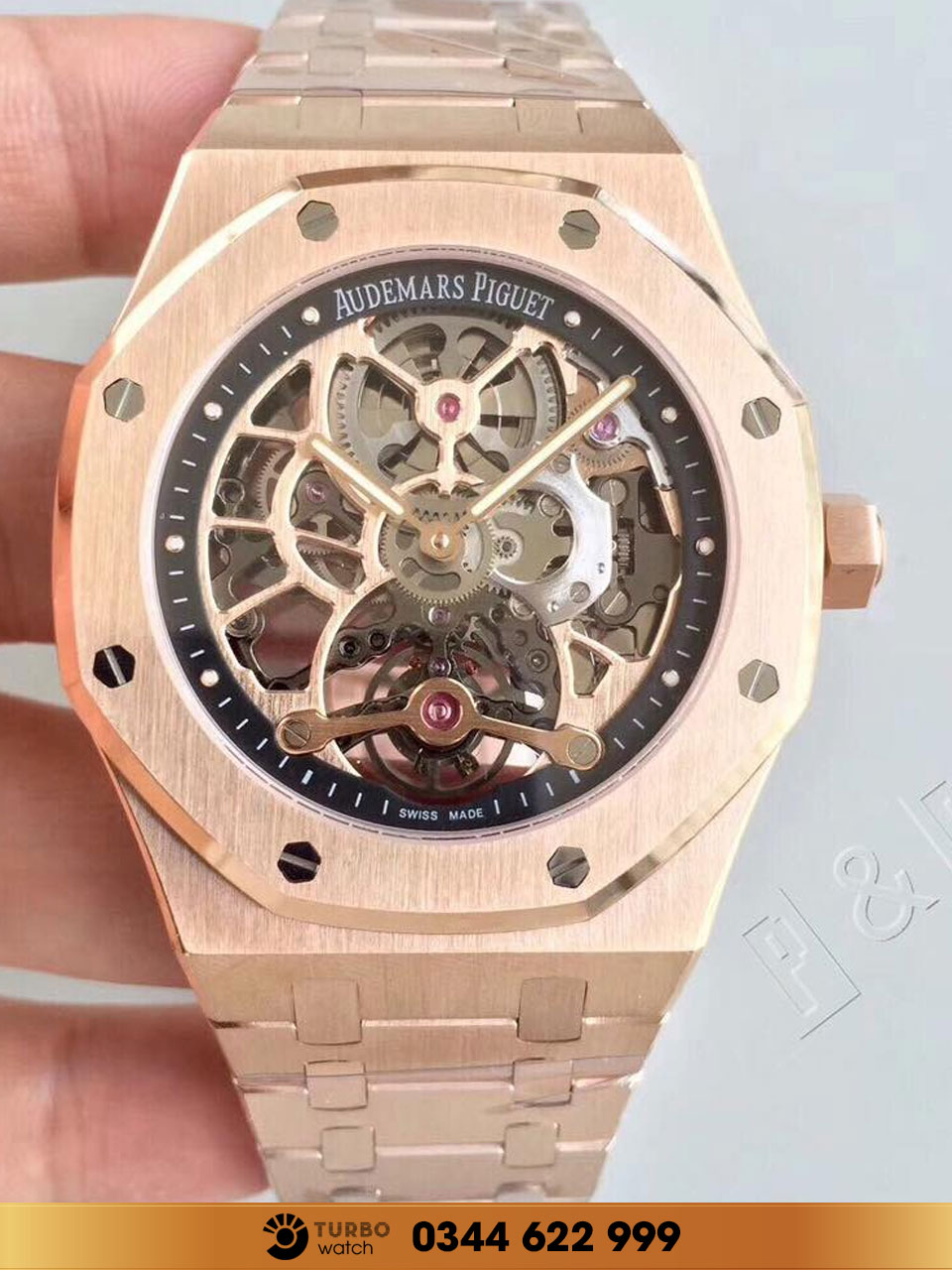 Audemas piguet Royal Oak Tourbillon Extra-Thin Openworked gold fake 1-1 siêu cấp