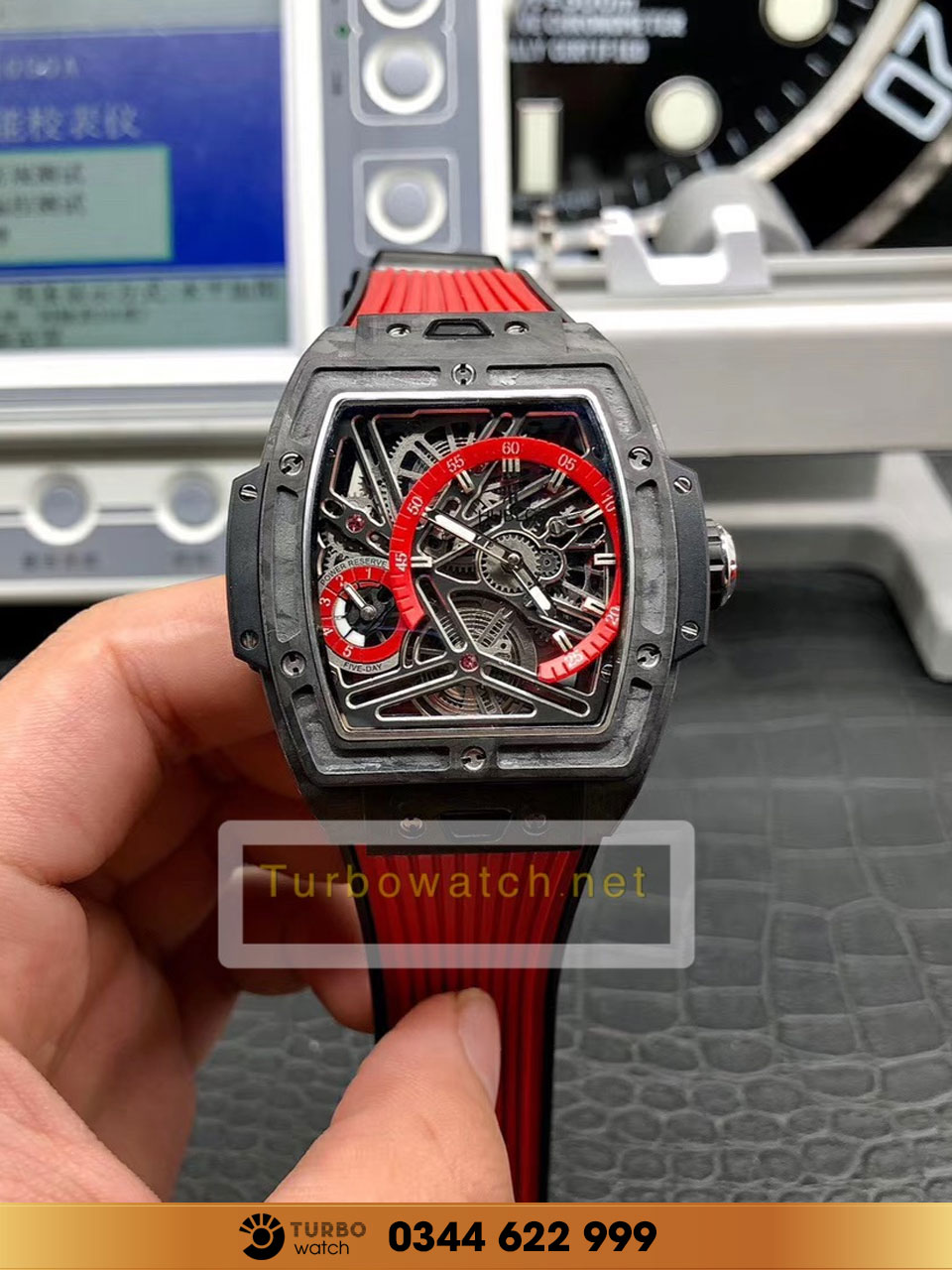 Hublot  Spirit Of Big Bang Tourbillon Carbon RED  replica 1:1 CAO CẤP