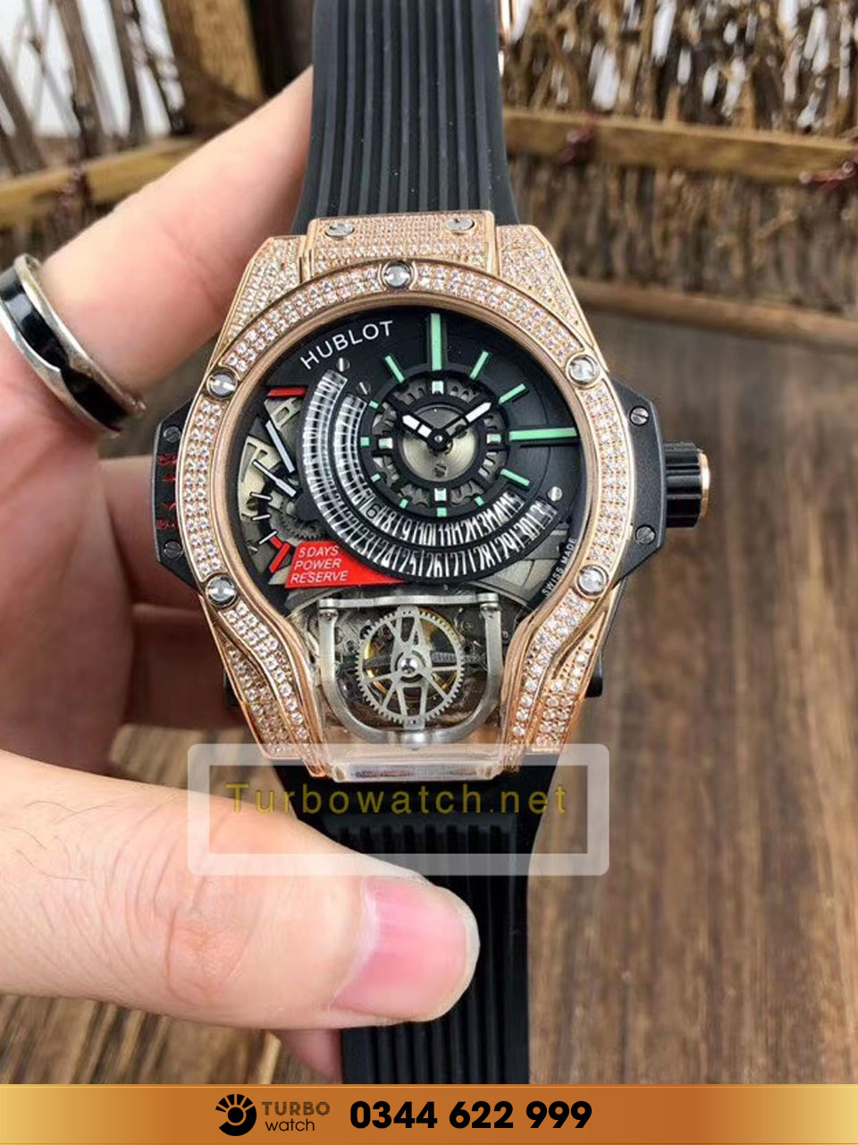 Hublot MP-09 Tourbillon Bi-Axis gold diamond  fake 1-1 siêu cấp