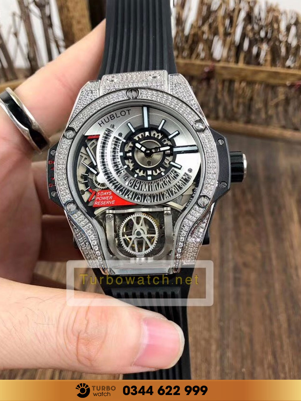 Hublot MP-09 Tourbillon Bi-Axis diamond replica 1:1 cao cấp