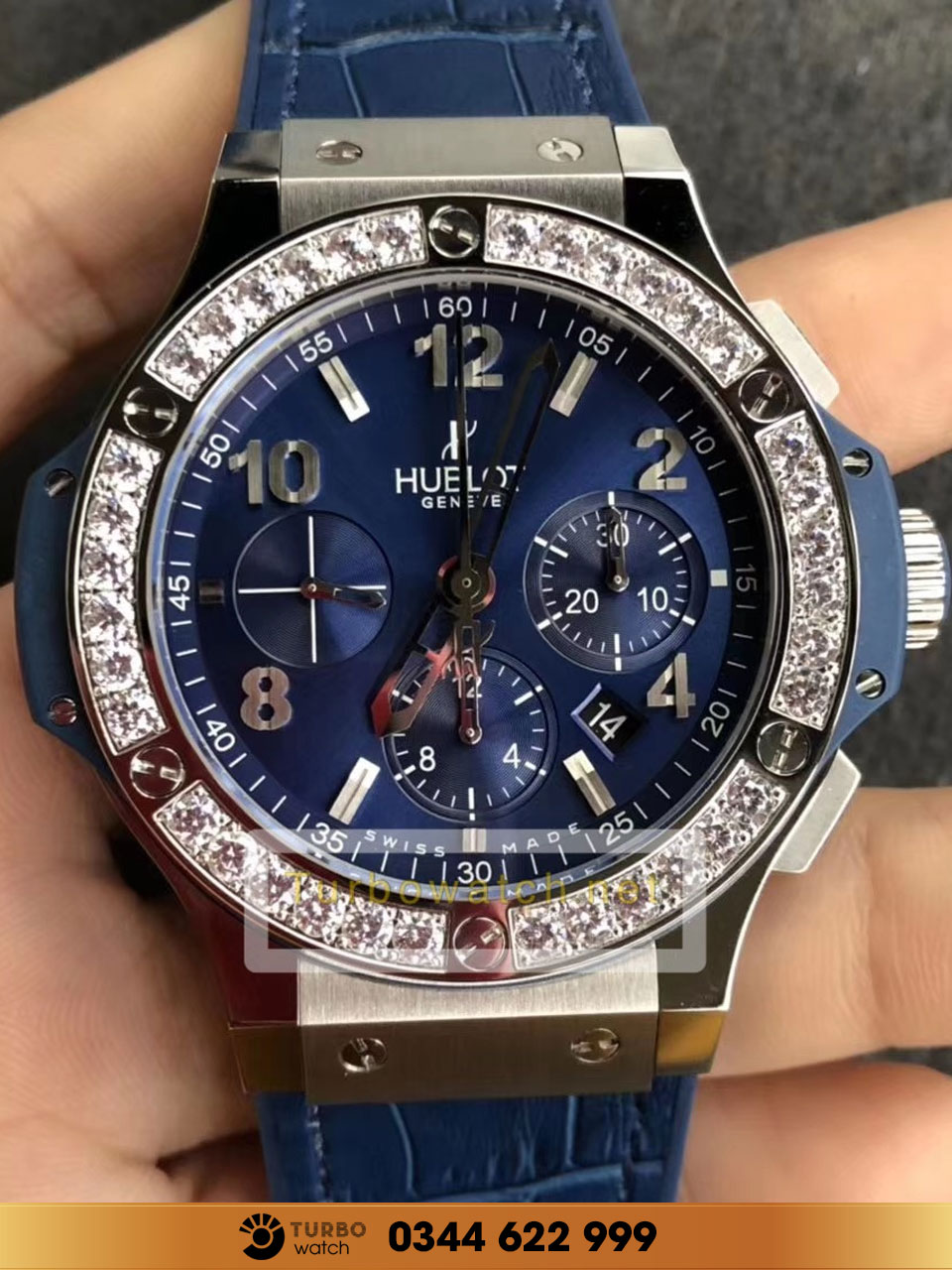 Hublot  Big Bang Steel Blue Diamonds 41mm fake 1-1 cao cấp