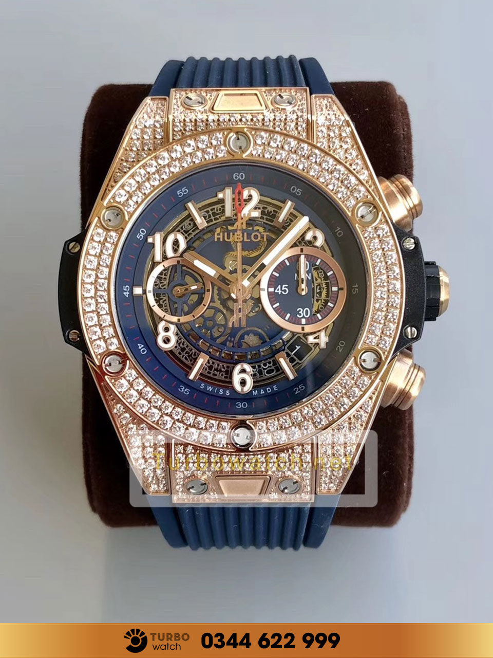 Hublot BIG BANG UNICO KING GOLD PAVE bleu replica 1:1 cao cấp