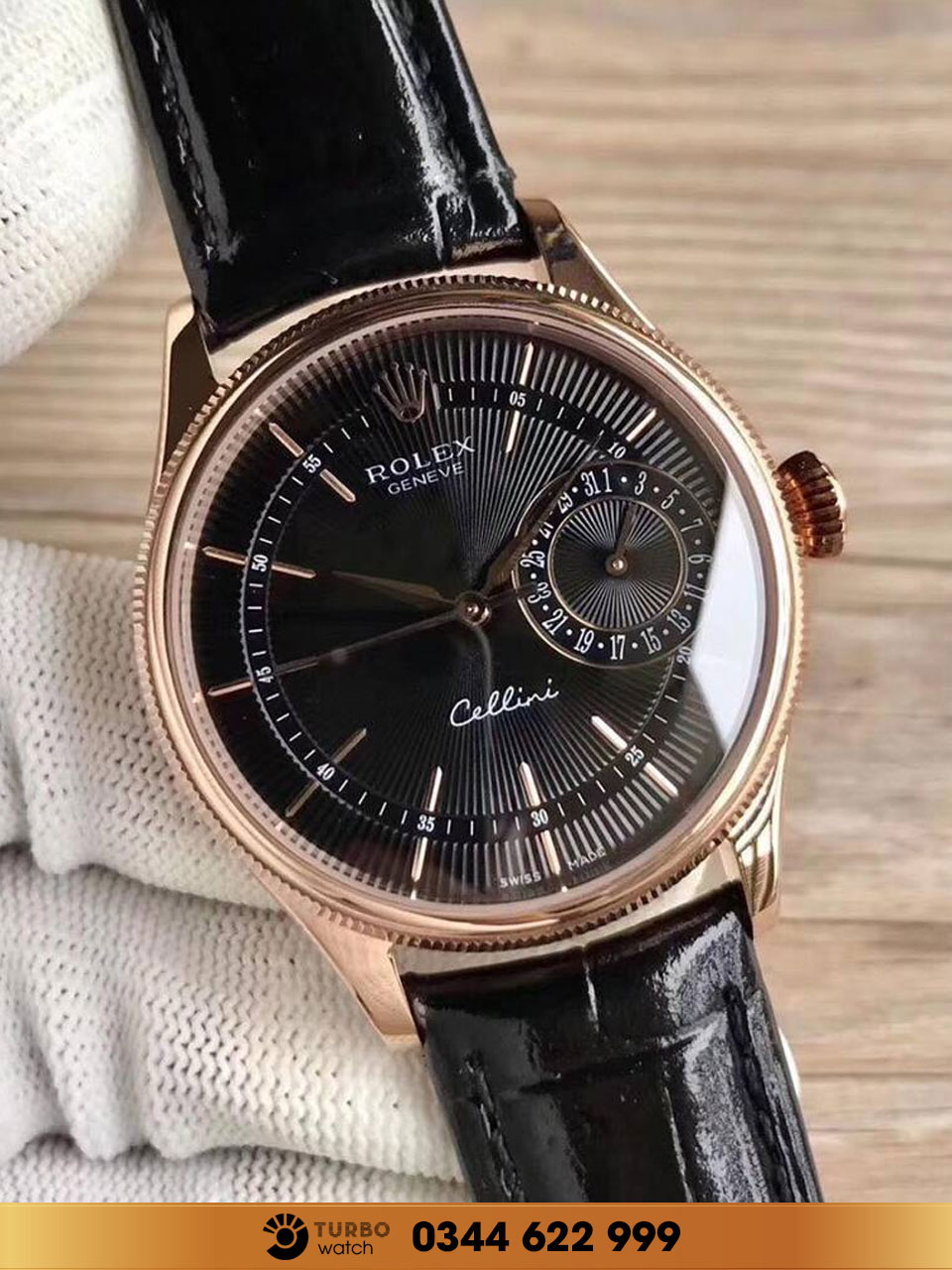 Rolex  Cellini Date 39mm 50515-0011 black gold fake 1-1 siêu cấp