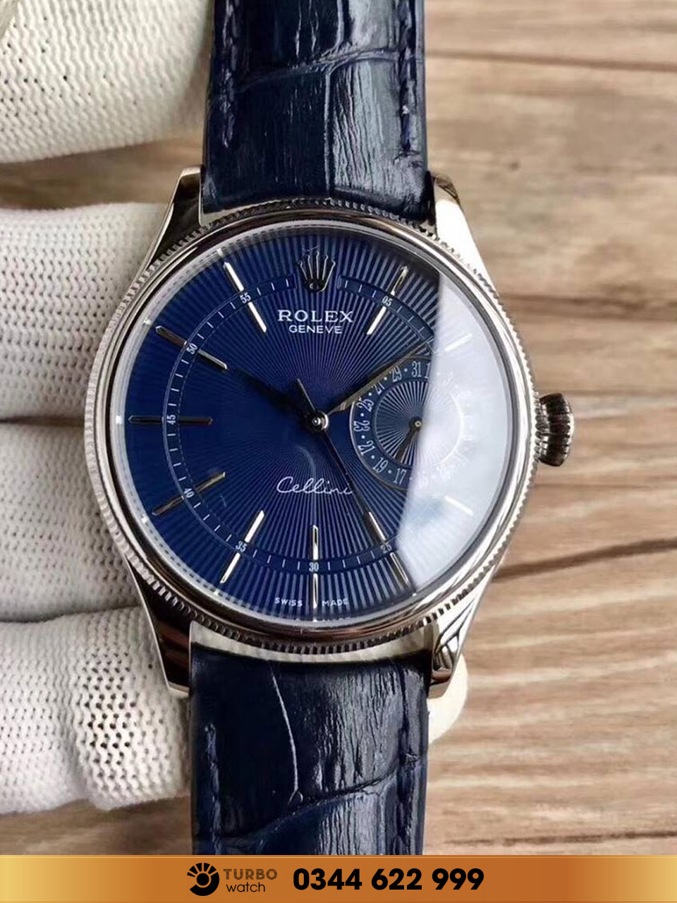 Rolex Cellini Date with Blue Guilloche Dial fake 1-1 siêu cấp