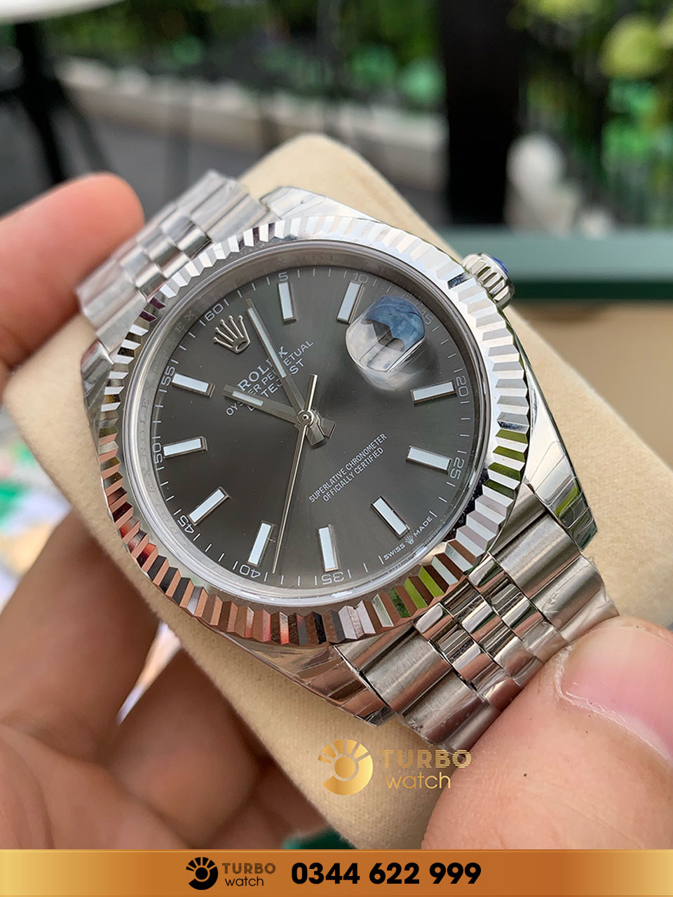 Rolex Datejust 41 Dark Rhodium Dial Stainless fake 1-1 siêu cấp