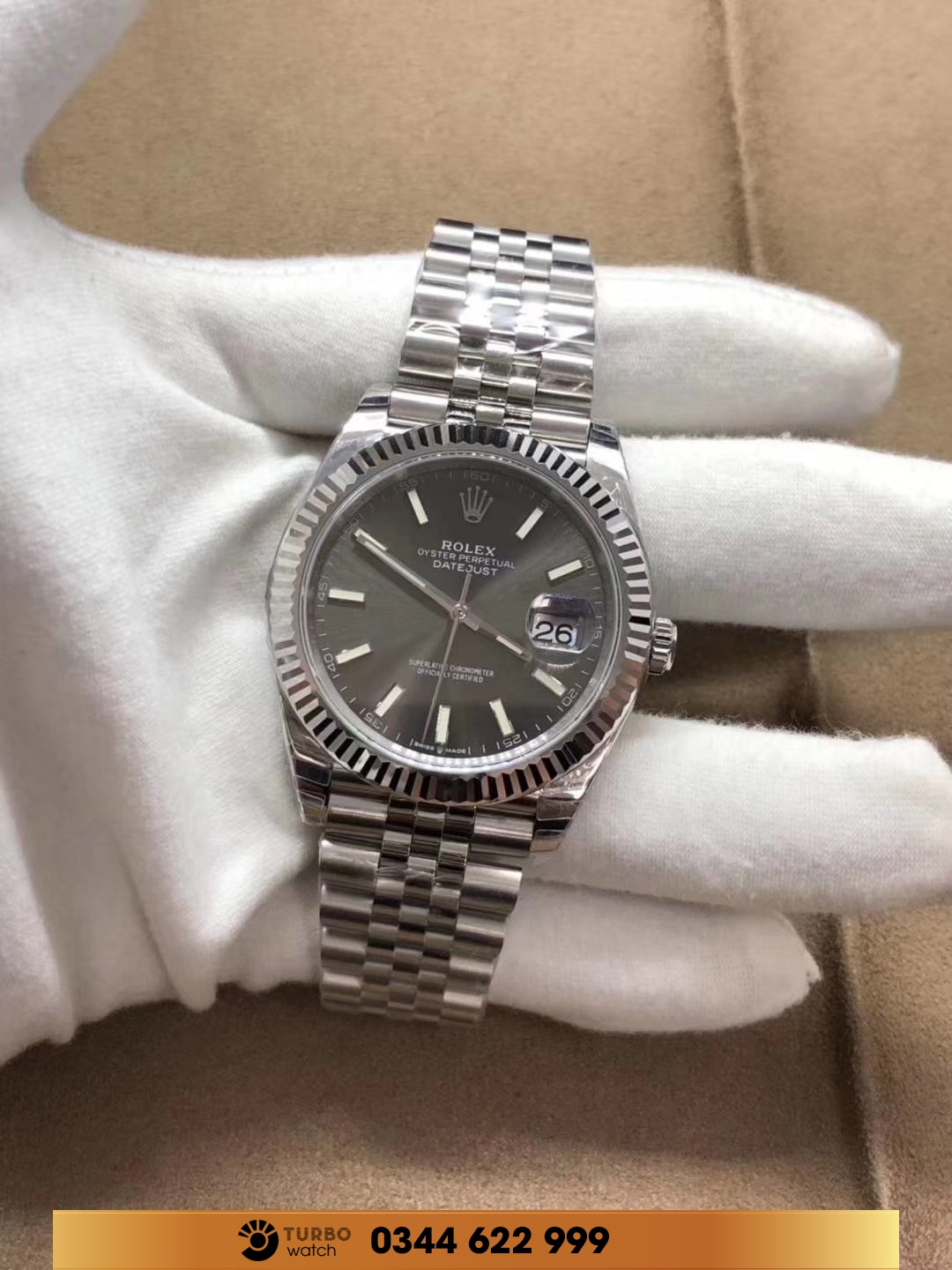 rolex Datejust 41 Dark Rhodium Dial Stainless Steel Watch on Jubilee Bracelet fake 1-1 cao cấp