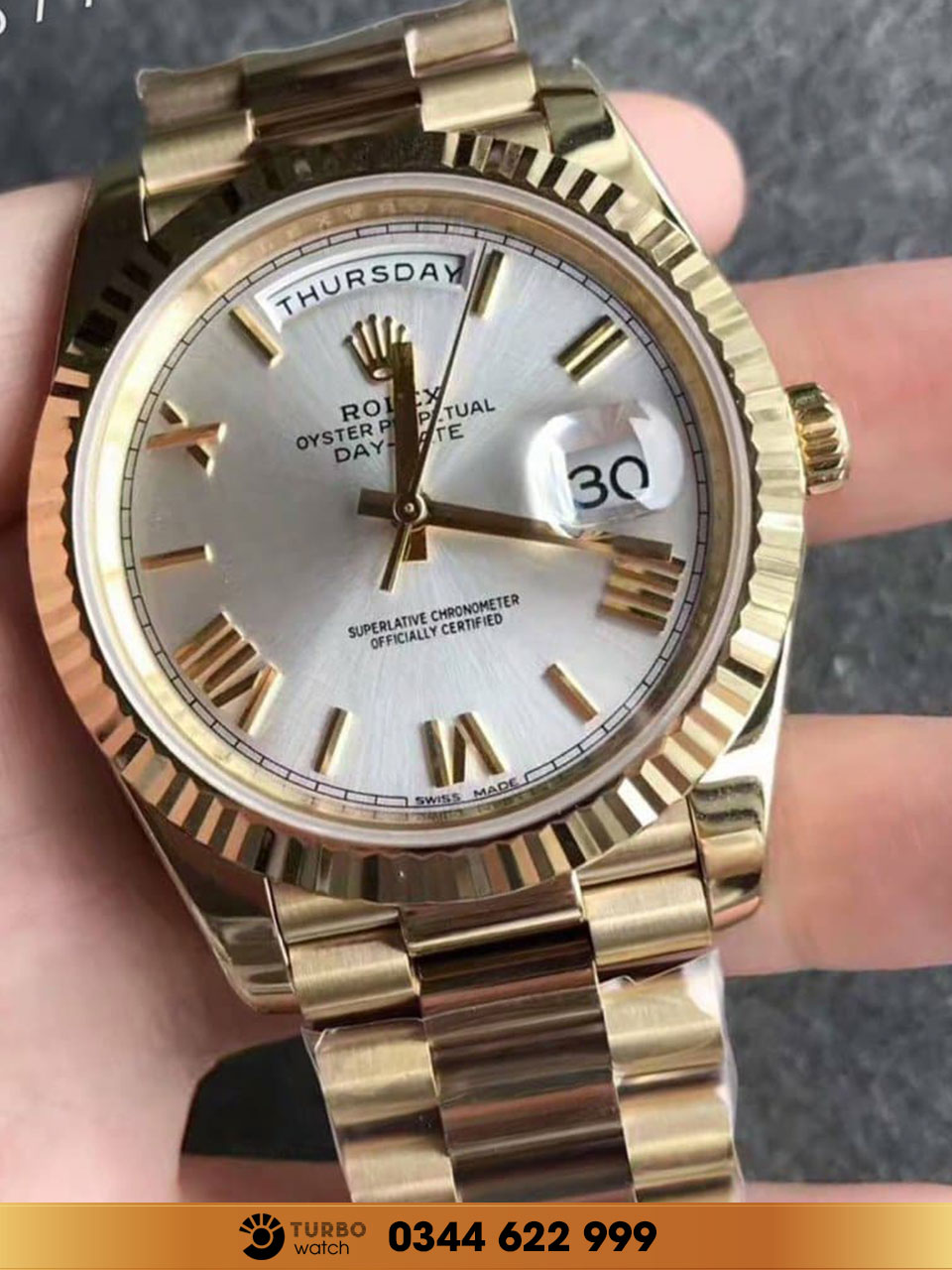 Rolex Oyster Perpetual Day-Date 18K Yellow Gold 18238 fake 1-1 cao cấp
