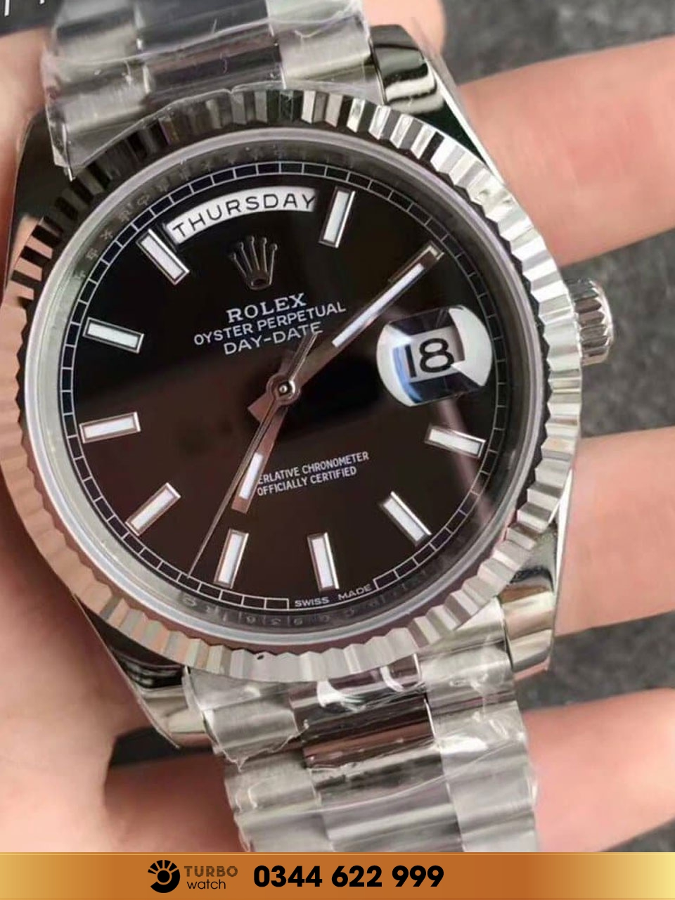 Rolex Day-Date 36 White Gold Black fake 1-1 siêu cấp