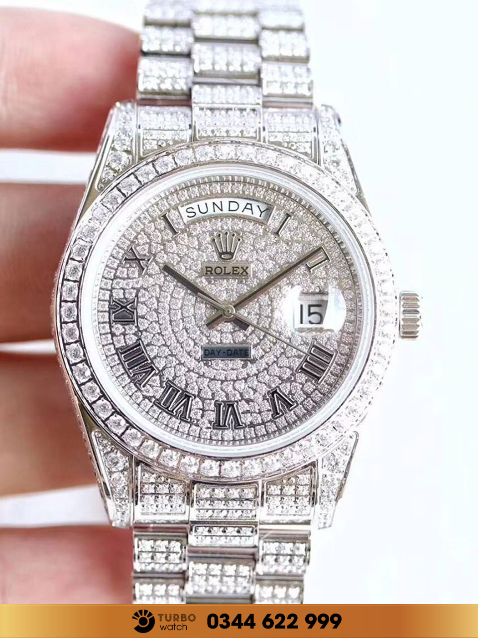 Day-Date II 18K White Gold 41MM President 218239 Diamond fake 1-1 cao cấp