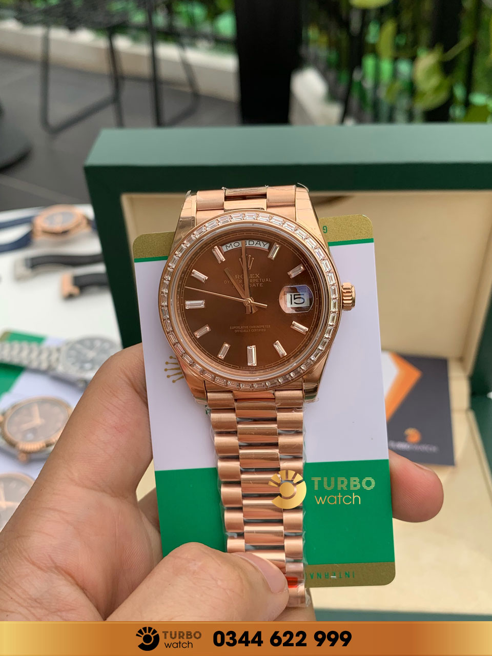 rolex Datejust Chocolate Dial Fluted Bezel Rose Gold diamond fake 1-1 cao cấp