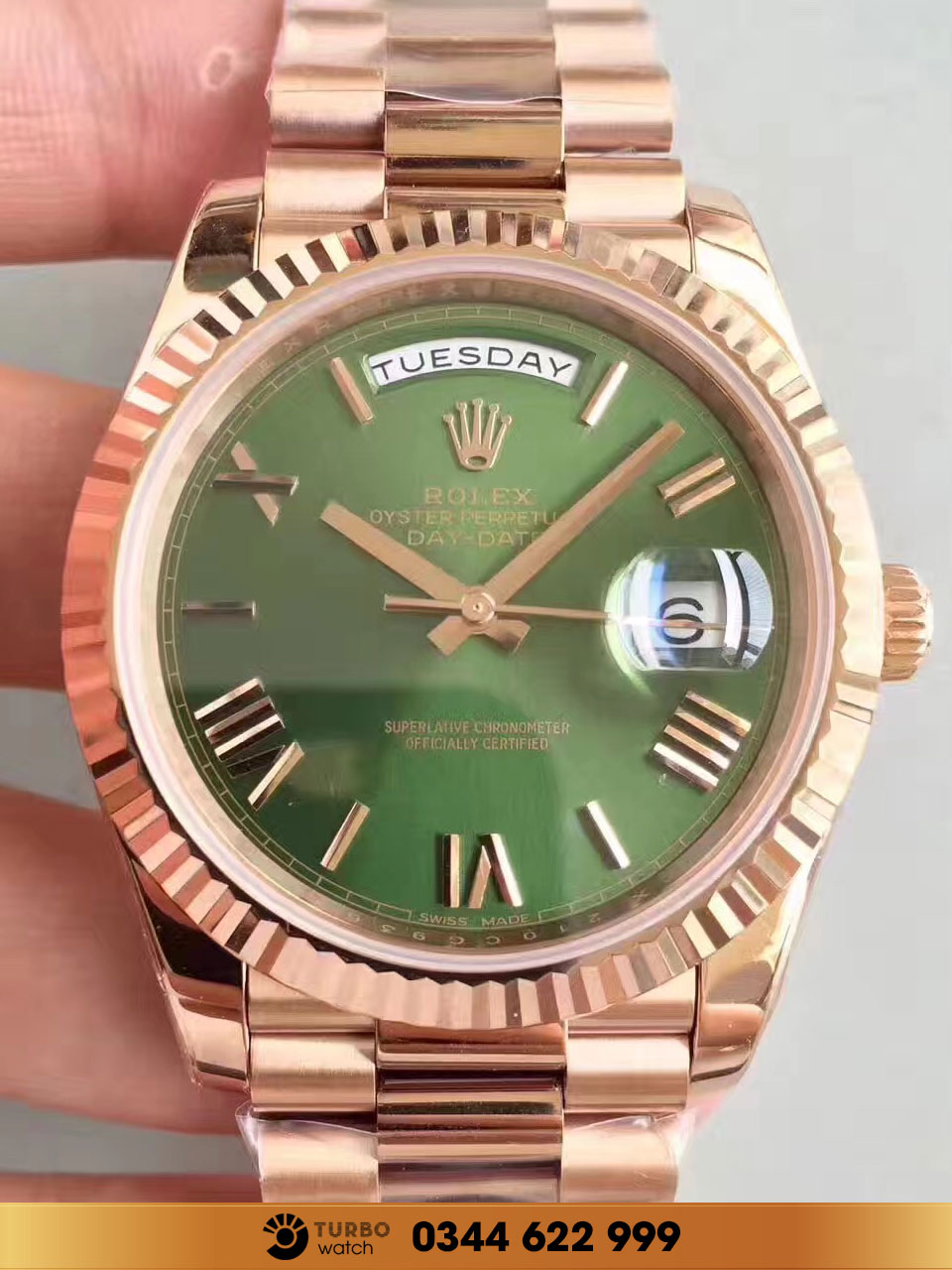 Rolex  Day Date 228235 Olive Green Dial Everose Gold fake 1-1 cao cấp