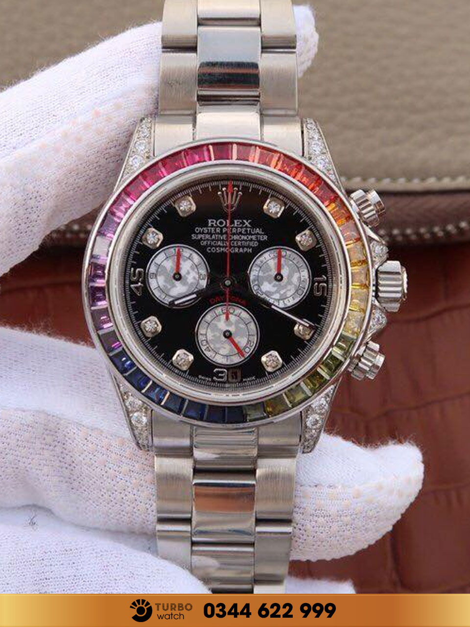 Rolex  Cosmograph Daytona Rainbow 18K White Gold Watch 116599 fake 1-1 siêu cấp