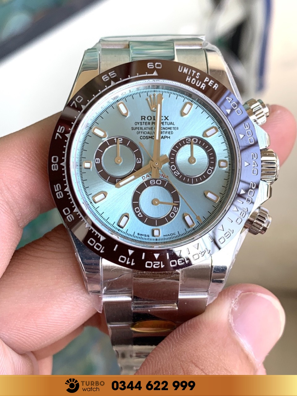 Rolex Cosmograph Daytona Ice Blue Dial Platinum Mens Watch 116506IBLSO fake 1-1 siêu cấp